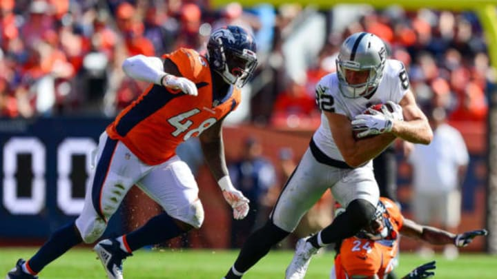 DENVER, CO – SEPTEMBER 16: Linebacker Shaquil Barrett #48 of the Denver Broncos dives to tackle wide receiver Jordy Nelson #82 of the Oakland Raiders in the second quarter of a game at Broncos Stadium at Mile High on September 16, 2018 in Denver, Colorado. New York Jets (Photo by Dustin Bradford/Getty Images)