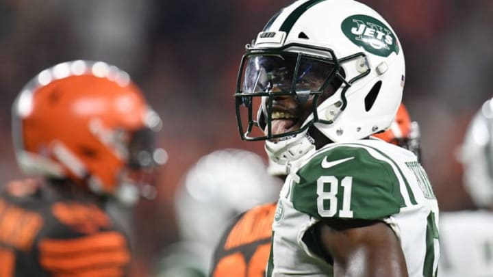 CLEVELAND, OH - SEPTEMBER 20: Quincy Enunwa #81 of the New York Jets reacts after picking up a first down during the first quarter against the Cleveland Browns at FirstEnergy Stadium on September 20, 2018 in Cleveland, Ohio. (Photo by Jason Miller/Getty Images)
