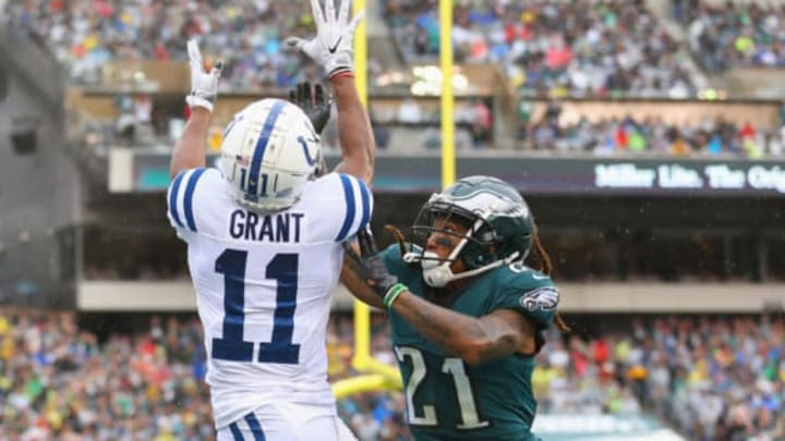 PHILADELPHIA, PA – SEPTEMBER 23: Wide receiver Ryan Grant #11 of the Indianapolis Colts makes a touchdown catch off a 5-yard pass from quarterback Andrew Luck #12 (not pictured) against cornerback Ronald Darby #21 of the Philadelphia Eagles during the first quarter at Lincoln Financial Field on September 23, 2018, in Philadelphia, Pennsylvania. (Photo by Mitchell Leff/Getty Images)