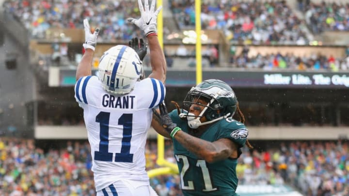 PHILADELPHIA, PA - SEPTEMBER 23: Wide receiver Ryan Grant #11 of the Indianapolis Colts makes a touchdown-catch off a 5-yard pass from quarterback Andrew Luck #12 (not pictured) against cornerback Ronald Darby #21 of the Philadelphia Eagles during the first quarter at Lincoln Financial Field on September 23, 2018 in Philadelphia, Pennsylvania. (Photo by Mitchell Leff/Getty Images)