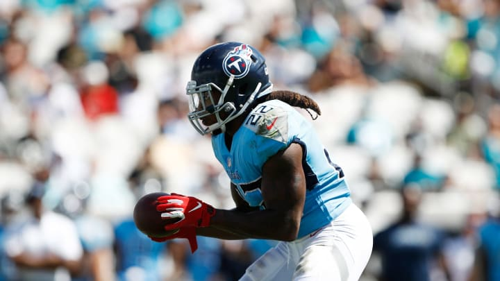 JACKSONVILLE, FL – SEPTEMBER 23: Derrick Henry #22 of the Tennessee Titans runs with the football during their game against the Jacksonville Jaguars at TIAA Bank Field on September 23, 2018 in Jacksonville, Florida. (Photo by Wesley Hitt/Getty Images)