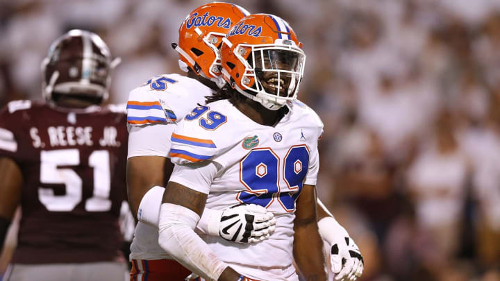 STARKVILLE, MS – SEPTEMBER 29: Jachai Polite #99 of the Florida Gators celebrates a sack during the second half against the Mississippi State Bulldogs at Davis Wade Stadium on September 29, 2018 in Starkville, Mississippi. (Photo by Jonathan Bachman/Getty Images)