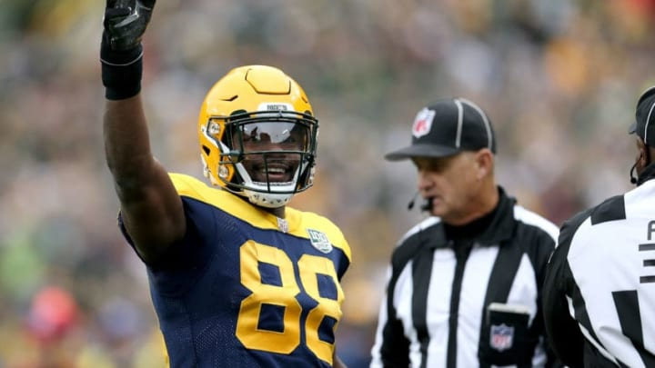 GREEN BAY, WI - SEPTEMBER 30: Ty Montgomery #88 of the Green Bay Packers reacts after getting a first down during the first quarter of a game against the Buffalo Bills at Lambeau Field on September 30, 2018 in Green Bay, Wisconsin. (Photo by Dylan Buell/Getty Images)