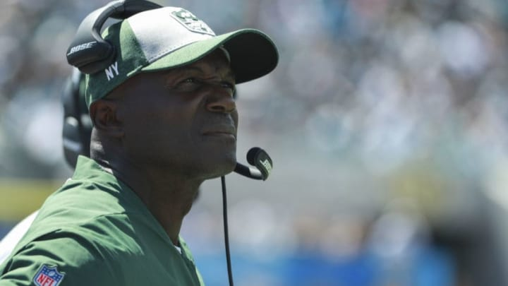 JACKSONVILLE, FL - SEPTEMBER 30: Head coach Todd Bowles of the New York Jets is seen on the sidelines during the first half against the Jacksonville Jaguars at TIAA Bank Field on September 30, 2018 in Jacksonville, Florida. (Photo by Scott Halleran/Getty Images)