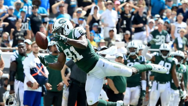 JACKSONVILLE, FL - SEPTEMBER 30: Quincy Enunwa #81 of the New York Jets attempts a reception during the game against the Jacksonville Jaguars on September 30, 2018 in Jacksonville, Florida. (Photo by Sam Greenwood/Getty Images)