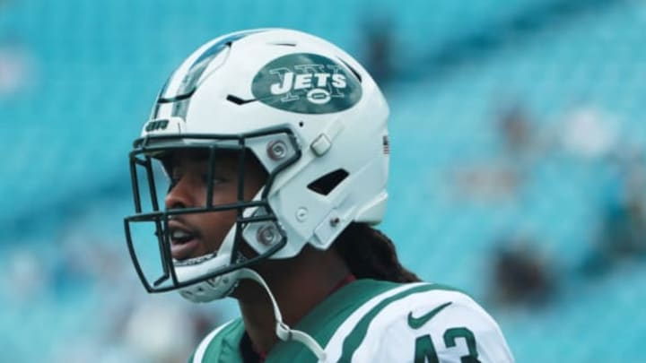 JACKSONVILLE, FL – SEPTEMBER 30: Parry Nickerson #43 of the New York Jets works out on the field before their game against the Jacksonville Jaguars at TIAA Bank Field on September 30, 2018 in Jacksonville, Florida. (Photo by Scott Halleran/Getty Images)
