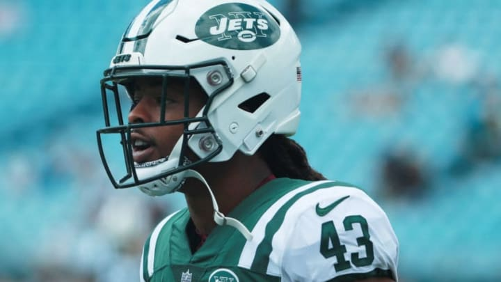 JACKSONVILLE, FL - SEPTEMBER 30: Parry Nickerson #43 of the New York Jets works out on the field before their game against the Jacksonville Jaguars at TIAA Bank Field on September 30, 2018 in Jacksonville, Florida. (Photo by Scott Halleran/Getty Images)