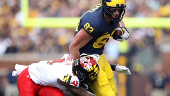 ANN ARBOR, MI – OCTOBER 06: Zach Gentry #83 of the Michigan Wolverines tries to avoid the tackle of Darnell Savage Jr. #4 of the Maryland Terrapins during the first half on October 6, 2018 at Michigan Stadium in Ann Arbor, Michigan. (Photo by Gregory Shamus/Getty Images)