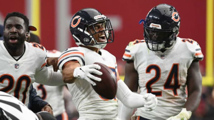 GLENDALE, AZ – SEPTEMBER 23: Cornerback Bryce Callahan #37 of the Chicago Bears celebrates an interception in the NFL game against the Arizona Cardinals at State Farm Stadium on September 23, 2018 in Glendale, Arizona. The Chicago Bears won 16-14. New York Jets (Photo by Jennifer Stewart/Getty Images)