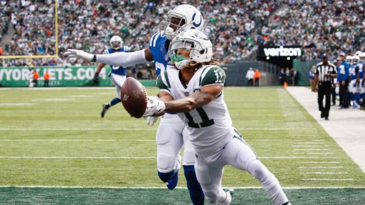 EAST RUTHERFORD, NJ - OCTOBER 14: Defensive back Pierre Desir #35 of the Indianapolis Colts breaks up a pass intended for wide receiver Robby Anderson #11 of the New York Jets during the second quarter at MetLife Stadium on October 14, 2018 in East Rutherford, New Jersey. (Photo by Jeff Zelevansky/Getty Images)