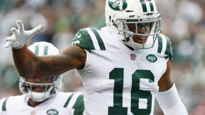 EAST RUTHERFORD, NJ - OCTOBER 14: Wide receiver Terrelle Pryor #16 of the New York Jets celebrates his touchdown against the Indianapolis Colts during the second quarter at MetLife Stadium on October 14, 2018 in East Rutherford, New Jersey. (Photo by Mike Stobe/Getty Images)