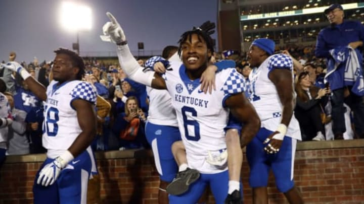 COLUMBIA, MO – OCTOBER 27: Cornerback Lonnie Johnson Jr. #6 of the Kentucky Wildcats celebrates with teammates and fans after the Wildcats defeated the Missouri Tigers 15-14 to win the game at Faurot Field/Memorial Stadium on October 27, 2018 in Columbia, Missouri. (Photo by Jamie Squire/Getty Images)