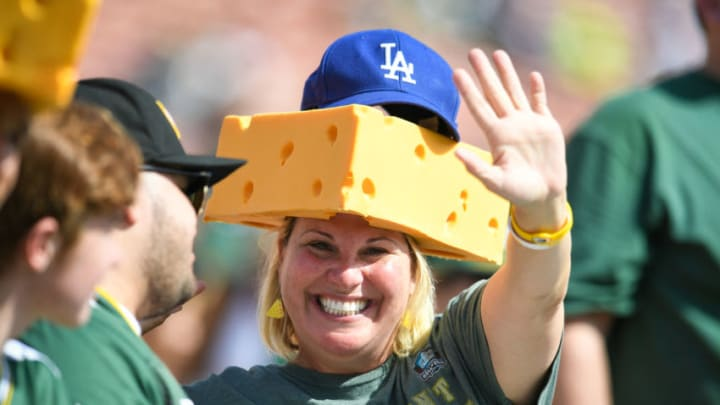 LOS ANGELES, CA - OCTOBER 28: Green Bay Packers fans wave from the stands ahead of the game against the Los Angeles Rams at Los Angeles Memorial Coliseum on October 28, 2018 in Los Angeles, California. (Photo by John McCoy/Getty Images)