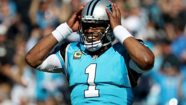 CHARLOTTE, NC - OCTOBER 28: Cam Newton #1 of the Carolina Panthers reacts against the Baltimore Ravens in the fourth quarter during their game at Bank of America Stadium on October 28, 2018 in Charlotte, North Carolina. (Photo by Streeter Lecka/Getty Images)