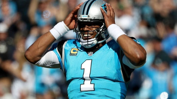 CHARLOTTE, NC – OCTOBER 28: Cam Newton #1 of the Carolina Panthers reacts against the Baltimore Ravens in the fourth quarter during their game at Bank of America Stadium on October 28, 2018 in Charlotte, North Carolina. (Photo by Streeter Lecka/Getty Images)