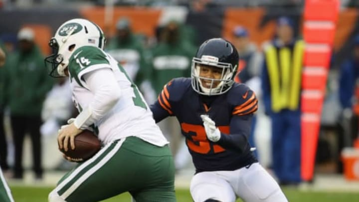 CHICAGO, IL – OCTOBER 28: Bryce Callahan #37 of the Chicago Bears sacks Sam Darnold #14 of the New York Jets at Soldier Field on October 28, 2018 in Chicago, Illinois. The Bears defeated the Jets 24-10. (Photo by Jonathan Daniel/Getty Images)
