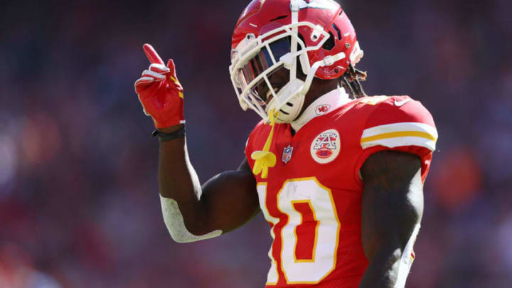 KANSAS CITY, MO - OCTOBER 28: Wide receiver Tyreek Hill #10 of the Kansas City Chiefs reacts after catching a pass during the game against the Denver Broncos at Arrowhead Stadium on October 28, 2018 in Kansas City, Missouri. (Photo by Jamie Squire/Getty Images)