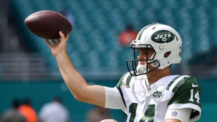 MIAMI, FL - NOVEMBER 04: Sam Darnold #14 of the New York Jets warms up ahead of their game against the Miami Dolphins at Hard Rock Stadium on November 4, 2018 in Miami, Florida. (Photo by Mark Brown/Getty Images)