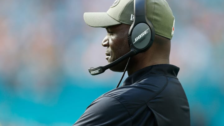 MIAMI, FL – NOVEMBER 04: Head coach Todd Bowles of the New York Jets looks on in the first half of their game against the Miami Dolphins at Hard Rock Stadium on November 4, 2018 in Miami, Florida. (Photo by Michael Reaves/Getty Images)