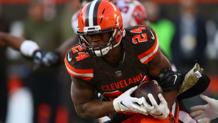 CLEVELAND, OH - NOVEMBER 11: Nick Chubb #24 of the Cleveland Browns runs the ball in the fourth quarter against the Atlanta Falcons at FirstEnergy Stadium on November 11, 2018 in Cleveland, Ohio. (Photo by Gregory Shamus/Getty Images)