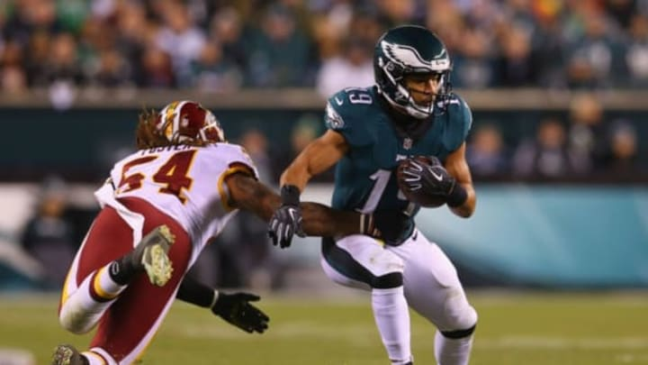 PHILADELPHIA, PA – DECEMBER 03: Wide receiver Golden Tate #19 of the Philadelphia Eagles runs by linebacker Mason Foster #54 of the Washington Redskins during the second quarter at Lincoln Financial Field on December 3, 2018 in Philadelphia, Pennsylvania. (Photo by Mitchell Leff/Getty Images)