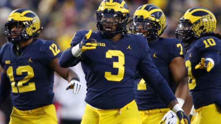 ANN ARBOR, MICHIGAN – NOVEMBER 17: Rashan Gary #3 of the Michigan Wolverines looks on while playing the Indiana Hoosiers at Michigan Stadium on November 17, 2018 in Ann Arbor, Michigan. Michigan won the game 31-20. (Photo by Gregory Shamus/Getty Images)