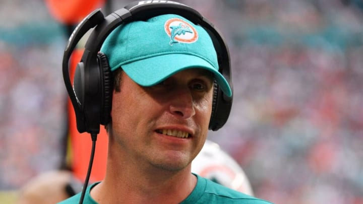 MIAMI, FL - DECEMBER 09: Head coach Adam Gase of the Miami Dolphins looks on during the second half against the New England Patriots at Hard Rock Stadium on December 9, 2018 in Miami, Florida. (Photo by Mark Brown/Getty Images)