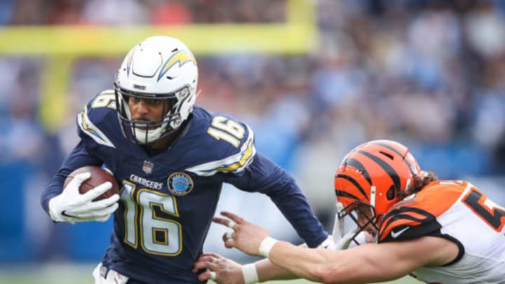 CARSON, CA – DECEMBER 09: Wide receiver Tyrell Williams #16 of the Los Angeles Chargers makes a pass play in front of outside linebacker Nick Vigil #59 of the Cincinnati Bengals in the fourth quarter at StubHub Center on December 9, 2018 in Carson, California. (Photo by Sean M. Haffey/Getty Images)
