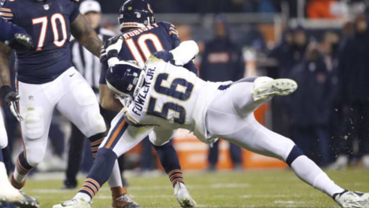 CHICAGO, IL – DECEMBER 09: Dante Fowler #56 of the Los Angeles Rams attempts a sack on quarterback Mitchell Trubisky #10 of the Chicago Bears in the first quarter at Soldier Field on December 9, 2018 in Chicago, Illinois. (Photo by Joe Robbins/Getty Images)