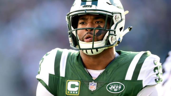 EAST RUTHERFORD, NEW JERSEY - NOVEMBER 25: Jamal Adams #33 of the New York Jets reacts against the New England Patriots at MetLife Stadium on November 25, 2018 in East Rutherford, New Jersey. (Photo by Sarah Stier/Getty Images)
