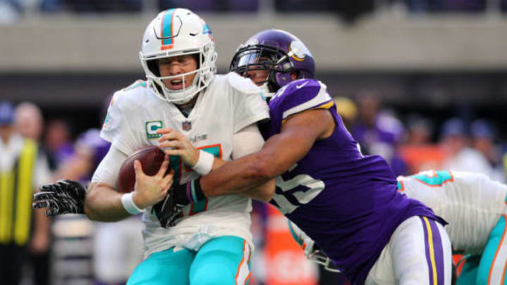 MINNEAPOLIS, MN – DECEMBER 16: Ryan Tannehill #17 of the Miami Dolphins is sacked with the ball by Anthony Barr #55 of the Minnesota Vikings in the third quarter of the game at U.S. Bank Stadium on December 16, 2018 in Minneapolis, Minnesota. New York Jets (Photo by Adam Bettcher/Getty Images)