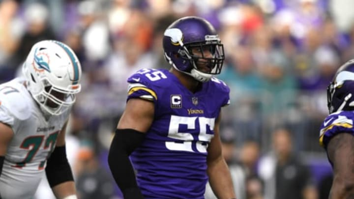 MINNEAPOLIS, MN – DECEMBER 16: Anthony Barr #55 of the Minnesota Vikings reacts after sacking Ryan Tannehill #17 of the Miami Dolphins in the third quarter of the game at U.S. Bank Stadium on December 16, 2018 in Minneapolis, Minnesota. New York Jets (Photo by Hannah Foslien/Getty Images)