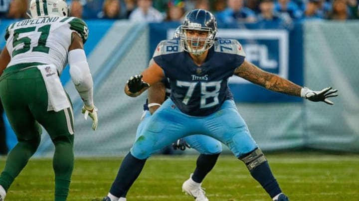 NASHVILLE, TN - DECEMBER 02: Offensive tackle Jack Conklin #78 of the Tennessee Titans plays against the New York Jets at Nissan Stadium on December 2, 2018 in Nashville, Tennessee. (Photo by Frederick Breedon/Getty Images)
