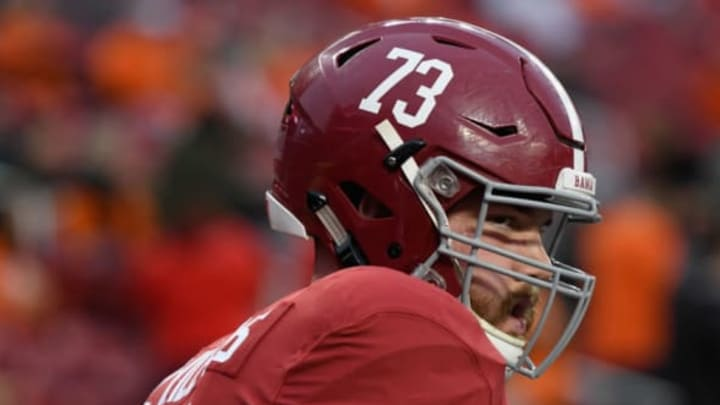 SANTA CLARA, CA – JANUARY 07: Jonah Williams #73 of the Alabama Crimson Tide warms up prior to the CFP National Championship against the Clemson Tigers presented by AT&T at Levi's Stadium on January 7, 2019 in Santa Clara, California. New York Jets 2019 NFL Draft (Photo by Harry How/Getty Images)