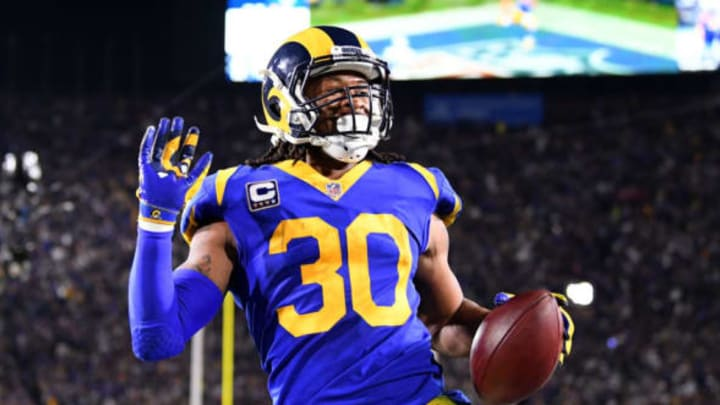 LOS ANGELES, CA – JANUARY 12: Todd Gurley #30 of the Los Angeles Rams scores a 35 yard touchdown in the second quarter against the Dallas Cowboys in the NFC Divisional Playoff game at Los Angeles Memorial Coliseum on January 12, 2019 in Los Angeles, California. (Photo by Harry How/Getty Images)