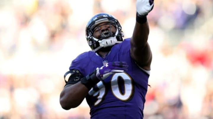 BALTIMORE, MARYLAND – JANUARY 06: Za'Darius Smith #90 of the Baltimore Ravens reacts after blocking a field goal against Mike Badgley #4 of the Los Angeles Chargers during the third quarter in the AFC Wild Card Playoff game at M&T Bank Stadium on January 06, 2019 in Baltimore, Maryland. (Photo by Patrick Smith/Getty Images)