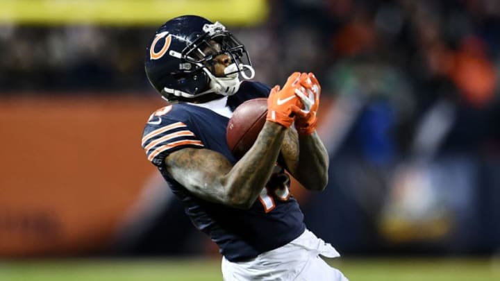CHICAGO, ILLINOIS - JANUARY 06: Josh Bellamy #15 of the Chicago Bears completes a pass against the Philadelphia Eagles in the fourth quarter of the NFC Wild Card Playoff game at Soldier Field on January 06, 2019 in Chicago, Illinois. (Photo by Stacy Revere/Getty Images)