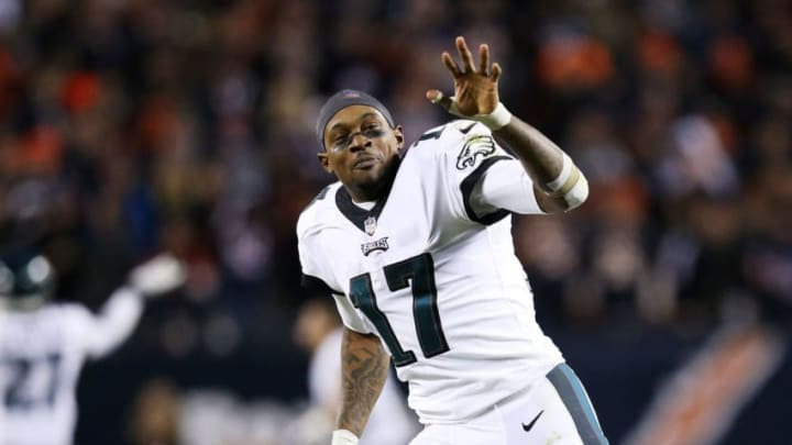 CHICAGO, ILLINOIS - JANUARY 06: Alshon Jeffery #17 of the Philadelphia Eagles celebrates their 16 to 15 win over the Chicago Bears in the NFC Wild Card Playoff game at Soldier Field on January 06, 2019 in Chicago, Illinois. (Photo by Dylan Buell/Getty Images)