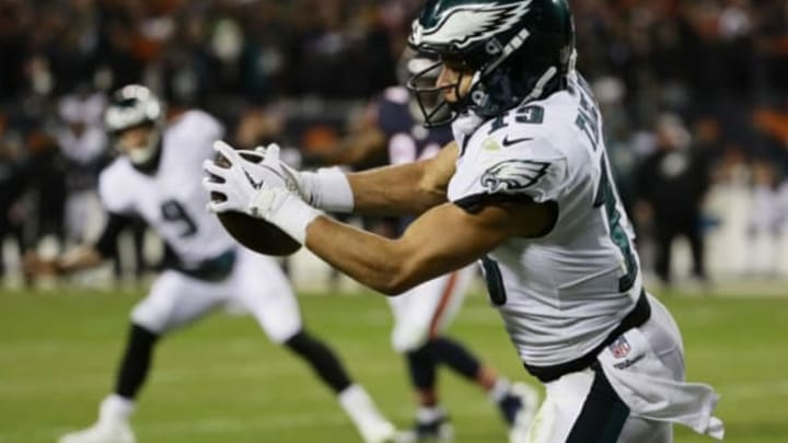 CHICAGO, ILLINOIS – JANUARY 06: Golden Tate #19 of the Philadelphia Eagles completes a reception to score a touchdown against the Chicago Bears in the fourth quarter of the NFC Wild Card Playoff game at Soldier Field on January 06, 2019 in Chicago, Illinois. (Photo by Jonathan Daniel/Getty Images)