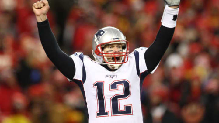 KANSAS CITY, MISSOURI – JANUARY 20: Tom Brady #12 of the New England Patriots celebrates after defeating the Kansas City Chiefs in overtime during the AFC Championship Game at Arrowhead Stadium on January 20, 2019 in Kansas City, Missouri. The Patriots defeated the Chiefs 37-31. (Photo by Ronald Martinez/Getty Images)