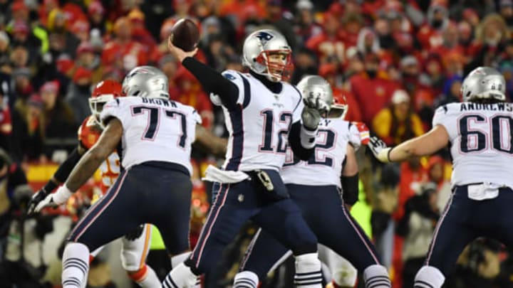 KANSAS CITY, MISSOURI – JANUARY 20: Tom Brady #12 of the New England Patriots passes in the second half against the Kansas City Chiefs during the AFC Championship Game at Arrowhead Stadium on January 20, 2019 in Kansas City, Missouri. (Photo by Peter Aiken/Getty Images)