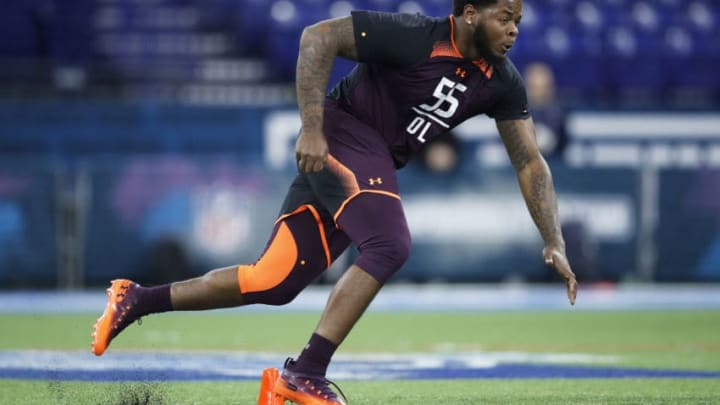 INDIANAPOLIS, IN - MARCH 01: Offensive lineman Jawaan Taylor of Florida works out during day two of the NFL Combine at Lucas Oil Stadium on March 1, 2019 in Indianapolis, Indiana. (Photo by Joe Robbins/Getty Images)