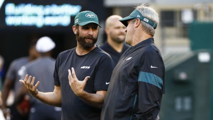EAST RUTHERFORD, NJ - AUGUST 29: Head coach Adam Gase of the New York Jets talks with head coach Doug Pederson of the Philadelphia Eagles before their preseason game at MetLife Stadium on August 29, 2019 in East Rutherford, New Jersey. (Photo by Jeff Zelevansky/Getty Images)