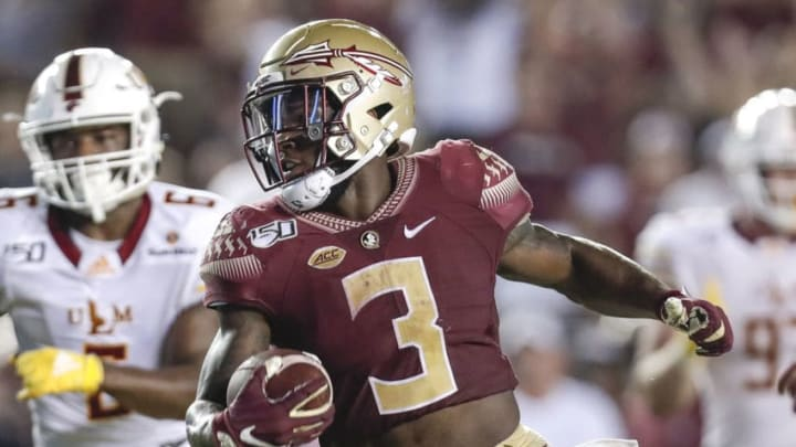 TALLAHASSEE, FL - SEPTEMBER 7: Runningback Cam Akers #3 of the Florida State Seminoles runs in for a toukchdown during the game against the Louisiana Monroe Warhawks at Doak Campbell Stadium on Bobby Bowden Field on September 7, 2019 in Tallahassee, Florida. Florida State defeated Louisiana Monroe 45 to 44 in overtime. (Photo by Don Juan Moore/Getty Images)