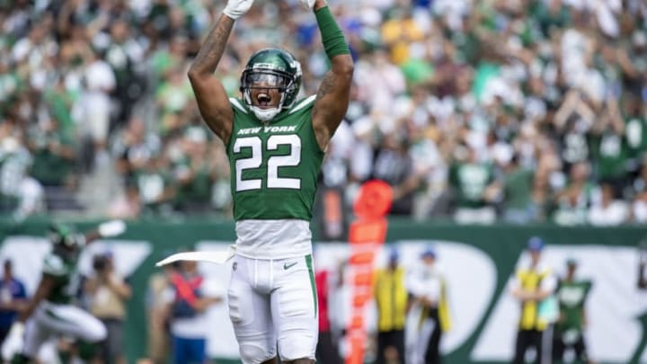 EAST RUTHERFORD, NJ - SEPTEMBER 08: Trumaine Johnson #22 of the New York Jets celebrates a safety against the Buffalo Bills during the third quarter at MetLife Stadium on September 8, 2019 in East Rutherford, New Jersey. Buffalo defeats New York 17-16. (Photo by Brett Carlsen/Getty Images)