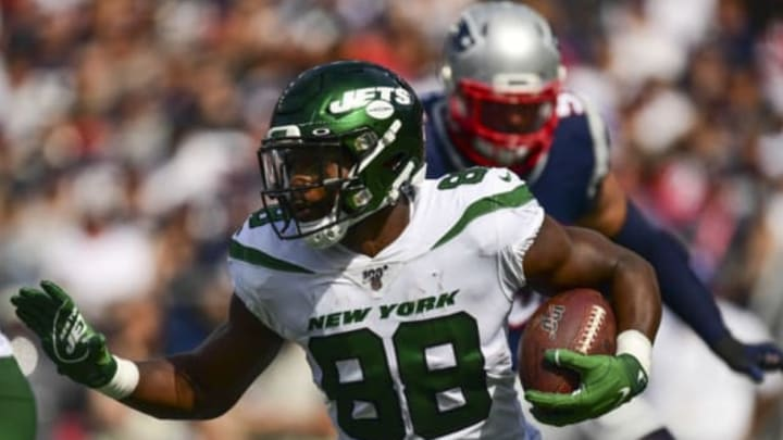 FOXBOROUGH, MA – SEPTEMBER 22: Ty Montgomery #88 of the New York Jets carries the ball during the second quarter of a game against the New England Patriots at Gillette Stadium on September 22, 2019 in Foxborough, Massachusetts. New York Jets (Photo by Billie Weiss/Getty Images)