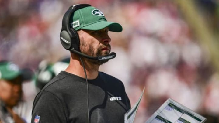 FOXBOROUGH, MA – SEPTEMBER 22: Head coach Adam Gase of the New York Jets looks on during the second quarter of a game against the New England Patriots at Gillette Stadium on September 22, 2019 in Foxborough, Massachusetts. New York Jets (Photo by Billie Weiss/Getty Images)