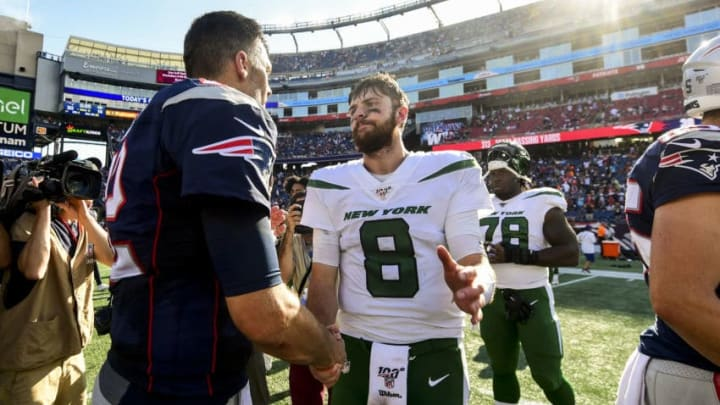 FOXBOROUGH, MA - SEPTEMBER 22: Tom Brady #12 of the New England Patriots shakes hands with Luke Falk #8 of the New York Jets after a game at Gillette Stadium on September 22, 2019 in Foxborough, Massachusetts. (Photo by Billie Weiss/Getty Images)