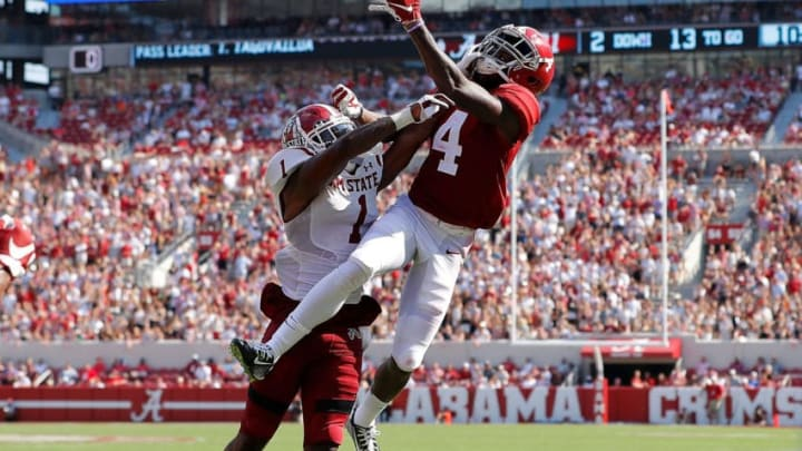 TUSCALOOSA, ALABAMA - SEPTEMBER 07: Jerry Jeudy #4 of the Alabama Crimson Tide fails to pull in this reception as he is defended by Ray Buford Jr. #1 of the New Mexico State Aggies at Bryant-Denny Stadium on September 07, 2019 in Tuscaloosa, Alabama. (Photo by Kevin C. Cox/Getty Images)
