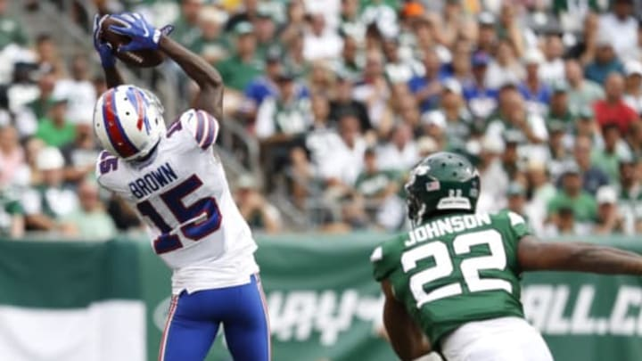 EAST RUTHERFORD, NEW JERSEY – SEPTEMBER 08: John Brown #15 of the Buffalo Bills makes a catch over Trumaine Johnson #22 of the New York Jets during the game at MetLife Stadium on September 08, 2019 in East Rutherford, New Jersey.New York Jets (Photo by Michael Owens/Getty Images)